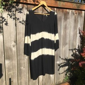 Anthropologie black/white tye dye dress - medium